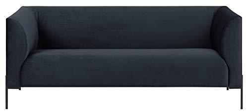 24Designs Bank Belleville 2.5-Zits - Fluweel Donkerblauw - Zwarte Metalen Poten