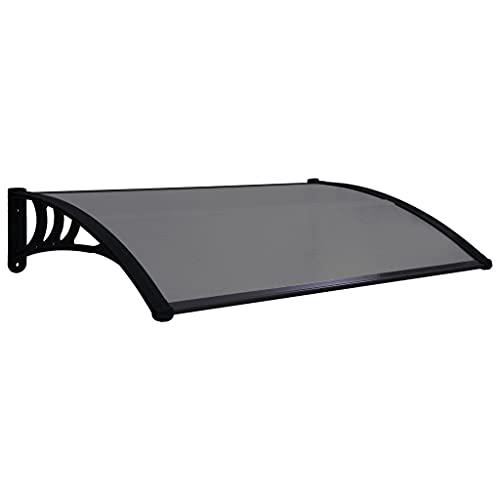 vidaXL Door Canopy Window Awning Porch Front Door Sunshade Rain Shelter Cover Outdoor Home Shop Enhance Shielding Weather Resistant Black 59