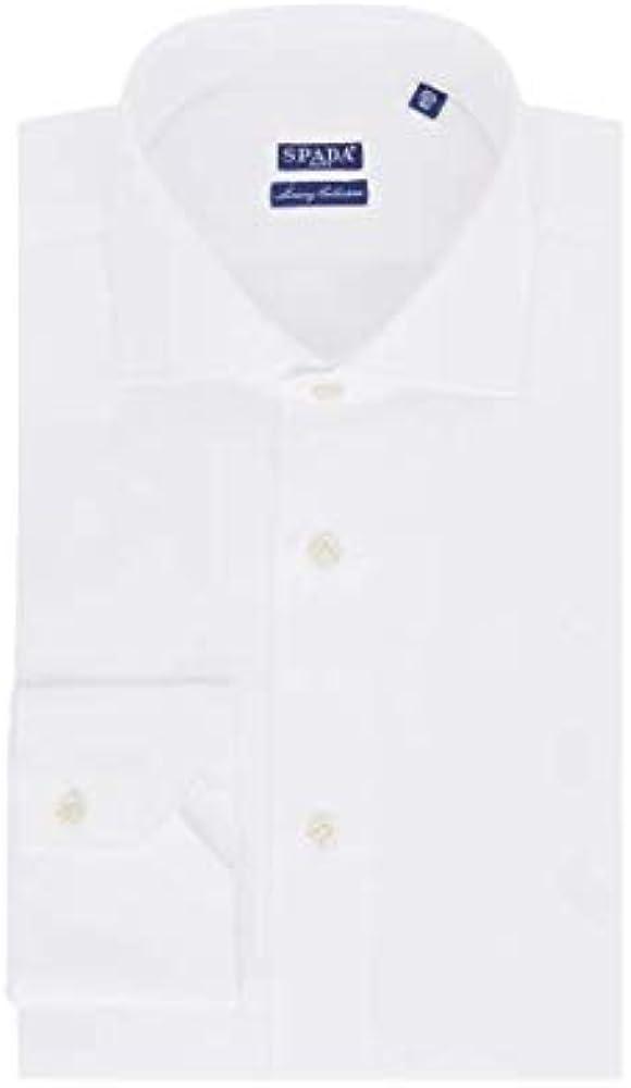Spada, camicia per uomo, in puro cotone, manica lunga, bianca