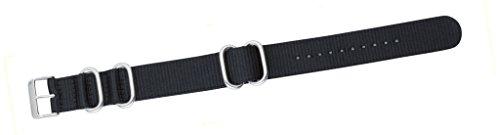 Campione Collections - EM-EP-415-24 - Cinturino per orologio da polso militare tipo Nato in Nylon Nero 24mm