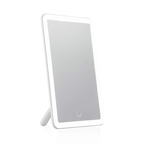 Pauleen Mirror Charming Schminkspiegel Touchdimmer inkl. AkkuLED Spiegel Kosmetikspiegel mit Licht Weiß Glas/Wachs 48025, Kunststoff, 4 W