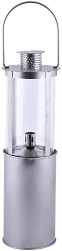 Esschert Design Windlicht Öllaterne aus Metall, Ø 14,1 x 46,4 cm, schlanke Form, Gartenlicht, Gartendekoration mit Haken, matt-Silberne Optik