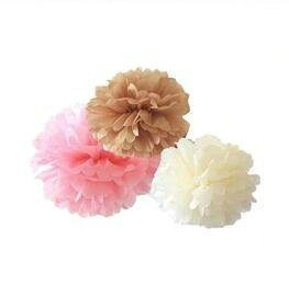 Since ® 12 Mixed Ivory Pale Pink Tan Brown Party Tissue Pompoms Paper Flower Pom Poms Wedding Birthday Nursery Baby Room Decoration SIC-01727