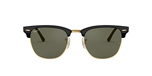 Ray-Ban RB3016 Clubmaster Square Sunglasses, Black/Polarized Green, 49 mm