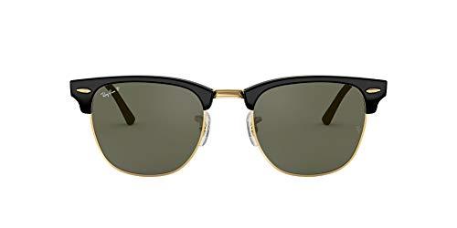 Ray-Ban Unisex-Erwachsene Clubmaster RB3016 901/58-51 Sonnenbrille, Schwarz (Black), 51