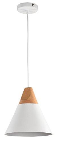 Suspensión Design, 1lámpara, estilo moderno, Loft, estructura de metal, tulipa con diseño original en metal blanca y madera, 1bombilla, Excl. 1E2760W 220–240V
