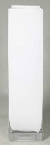 INNA-Glas Bodenvase Leon, Quader - viereckig, weiß, 10x10x40cm - Eckige Vase - Deko Vase