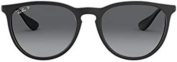 Ray Ban unisex adult Rb4171f Erika Asian Fit Sunglasses Black Rubber Grey Gradient Grey Polarized product image