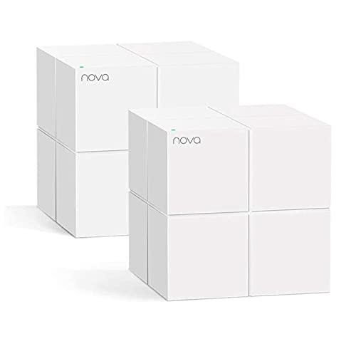 Tenda Nova MW6 2x Dual-Band Mesh WLAN Komplettlösung (bis zu 330m² WLAN, 2x Stationen, 4x Gigabit Ports, für Häuser, Büros, Wohnungen, MU-MIMO) Ersetzt Router, Powerline & Repeater
