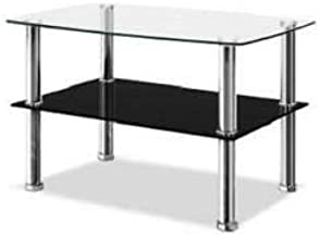 Generic * unge Roo Table 2-Tier unge Room Furniture Coffee Living L Living Lounge Room ture Coffee Black Glass Shelves Las...