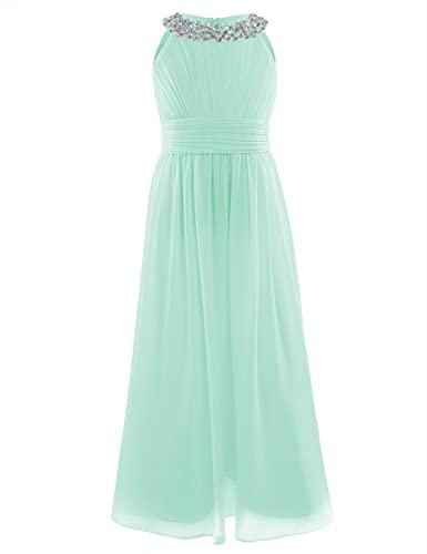 CHICTRY CHICTRY Mädchen Kleider Prinzessin Kleid Hochzeit festlich Lange Partykleid Abendkleid Festkleid Blumenmädchenkleid Gr. 104 116 128 140 152 164 B Mint Grün 152