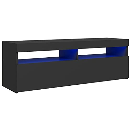 vidaXL Mueble para TV con Luces LED Soporte Armario Aparador Estante Salón Sala de Estar Dormitorio Decoración Entretenimiento Gris 120x35x40 cm