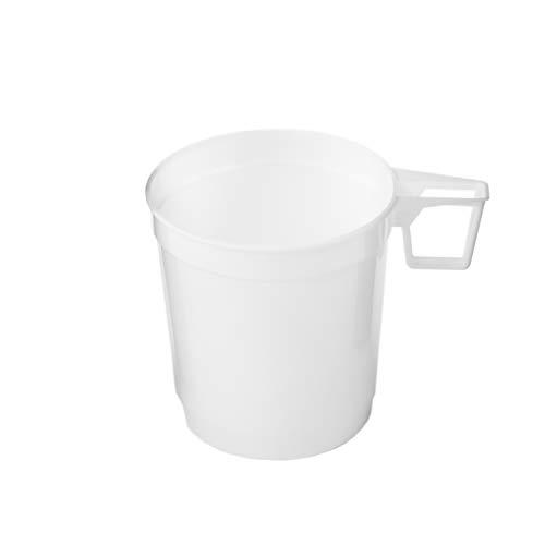 Silverkitchen 40x Kaffeetasse | 250ml weiß l | Plastik Einweg Kaffee Tasse mit Henkel | stabile Kaffeebecher in hochwertiger Qualität | für Geburtstag Hochzeit Gartenparty Grillfest Catering
