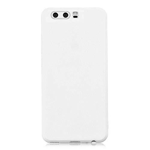 cuzz Funda para Huawei P10+{Protector de Pantalla de Vidrio Templado} Carcasa Silicona Suave Gel Rasguño y Resistente Teléfono Móvil Cover-Blanco