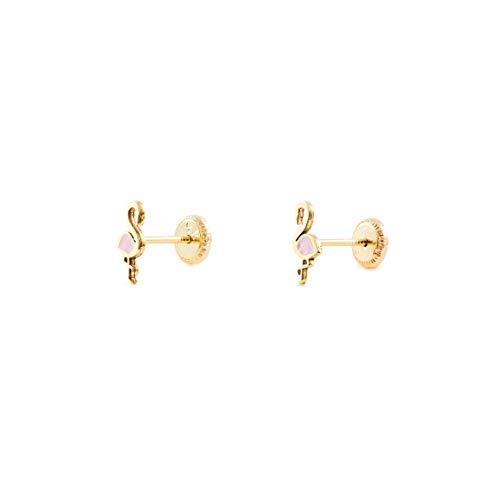 Pendientes Oro Niña Flamenco esmalte rosa (9kts)