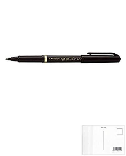三菱鉛筆 水性サインペン リブ細字 0.7mm 黒 MYT7.24 【× 4 本 】 + 画材屋ドットコム ポストカードA