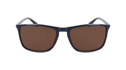 Calvin Klein Men's CK20524S Rectangular Sunglasses, Shiny Navy/Solid Brown, One Size