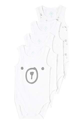 TEX - Pack 4 Bodys Unisex, Blanco Neutro, 12 Meses