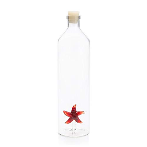 Balvi Bottiglia Starfish Bottiglia da Acqua 1,2L Figura fissata all'Interno Tappo in Silicone Borosilicato 30 cm