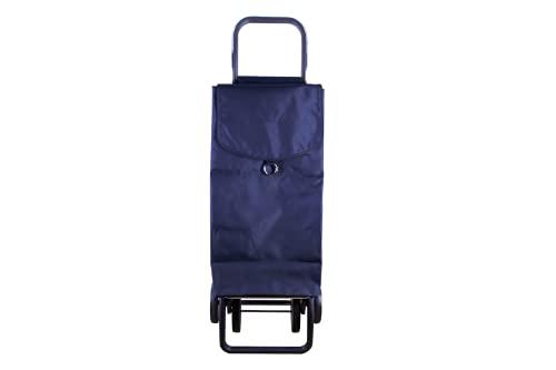 Carro de la Compra 4 Ruedas y Plegables 65Litros Material Tela y Bolsillo por Interior (Azul Oscuro, Tela)