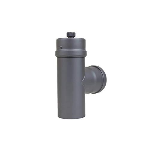 LANZZZAS pelletrohr T-stuk met condensatkap, diameter DN Ø 80 mm, in zwart metallic en gietijzeren grijs, pellet-, kachelpijp, rookpijp T-stuk, voor uw pelletkachel modern gietijzer.