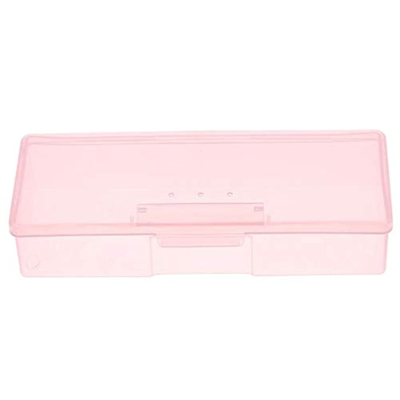 掃除愛する追うTOOGOO マニキュア用ピンクプラスチック透明ネイルツール収納ボックスネイルラインストーン装飾バッファファイル研削オーガナイザーケースツール