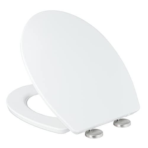 Relaxdays Tapa de inodoro con descenso automático, ancho x profundidad: 38 x 44 cm, montaje de 2 vías, asiento de inodoro extraíble, ovalado, duroplast, color blanco