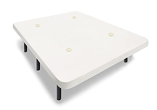 HOGAR24 ES - Base Tapizada 135x190 cm, Tejido Air Fresh 3D Color Blanco, con Tablero Multiperforado + 6 Patas Metálicas Altura 32 cm