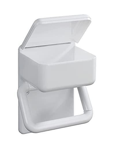 WENKO Toilettenpapierhalter 2 in 1 feuchttücher ablage Ersatzrollenhalter Papierrolle Toilettenpapier Klopapier WC-Bürstenhalter