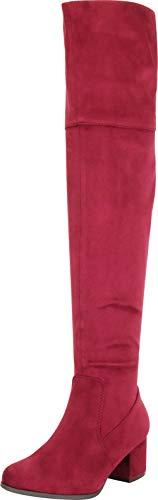 Cambridge Select Damen Almond Toe Chunky Block Mid Heel Overknee Stiefel, Rot (Burgund Imsu), 38.5 EU