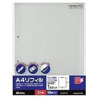 コクヨ A4リフィル 1ポケット A4タテ 2穴 ラ-A21N 1セット(100枚:10枚×10パック)