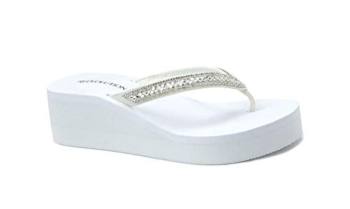 REDVOLUTION New Women's Rhinestone Sandals Platform T-Strap Jewel Sandals High Wedge Flip Flops (8, GEM [White])