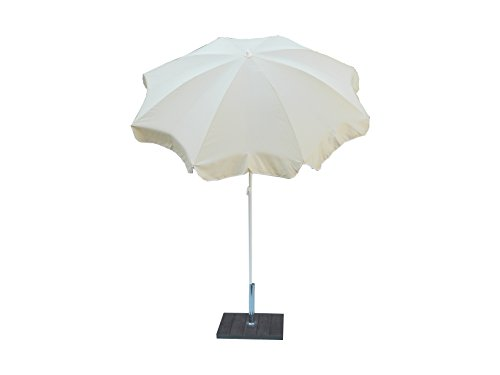 Maffei Art 112 Parasol Rond diamètre cm 200, Tissu Polyester imperméable, Made in Italy. Couleur Ecru