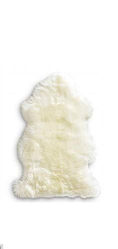 Schafshaut Store: 100% Schaffell/Öko Lammfell Schaffell,Naturprodukt L Weich und flauschig ideal für das Kinderzimmer/Schlaffzimmer/Wohnzimmer.(Weiß, L: 100-110 cm)