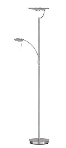 WOFI Standfluter, 3-flammig, Serie Vant, 1 x LED 18 W, 18-21 V, 50 x 180 x 30 cm, Durchmesser 30 cm, 3000 k, 1600 lm, nickel matt 3807.03.64.0000