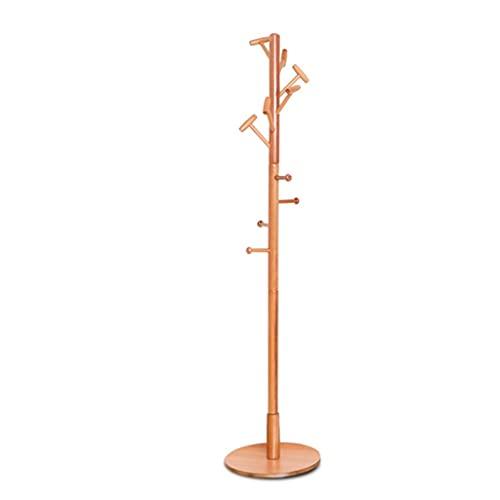 LZL Soporte de Metal de la Capa de Madera Maciza Muebles para Colgar la Chaqueta, el Bolso, la Bolsa de Mano, el paño, el Sombrero, el Titular de la Bufanda de Invierno (Color : Wood Color)