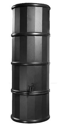 Polytank Black Space Saving 110L Litres SLIMLINE WATER BUTT KIT with Stand, Diverter & Tap
