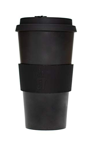 Joe Cup Reusable Coffee Cup for Travel To Go 16oz | Takeaway Bamboo Mug with Lid & Spill Stopper | Plastic & BPA Free | Dishwasher Safe Portable Eco Cup | Organic Bamboo Fiber | Black, 16 oz