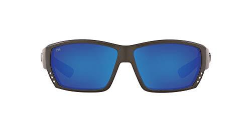 Costa Del Mar Men s Tuna Alley 580G Polarized Rectangular Sunglasses, Matte Steel Grey Blue Mirrored Polarized-580G, 62 mm