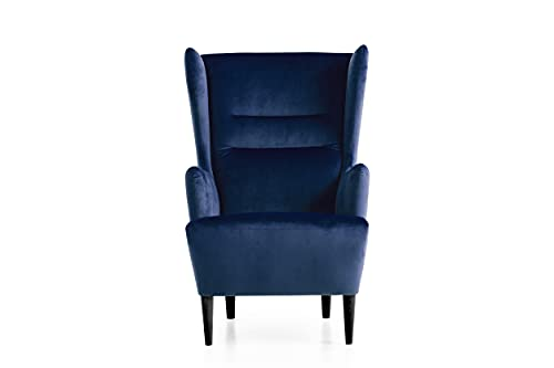 Traumnacht Ohrensessel Lukas, bequemer und moderner Relaxsessel für Wohnzimmer und Esszimmer, blau (samt)