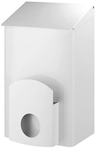 ALLCARE 13048 Dutch Bins AC LBS 7 EP Hygiene-Abfallbehälter inkl. Hygienebeutelspender Weißer rostfreier Edelstahl, 7 L