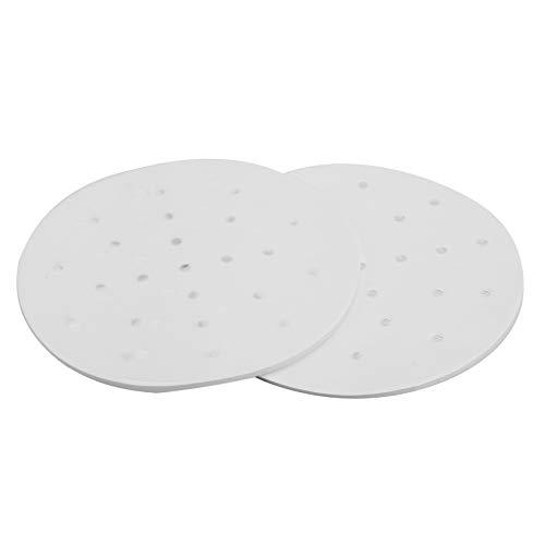 Mogzank 200 Stück Fritteusenliner 7,5-Zoll Papier Einlage Bambus DDmpfer Perforiert Pergament, kologische Runde Backmatte Für KKrbe Backen