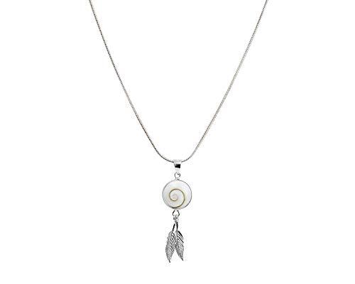 Vurmashop Collar Plata de Ley 925 Atrapasueños - Collar Ojo de Shiva Piedra de Santa Lucía - Colgante Plumas Atrapasueños - Concha Natural para Mujer