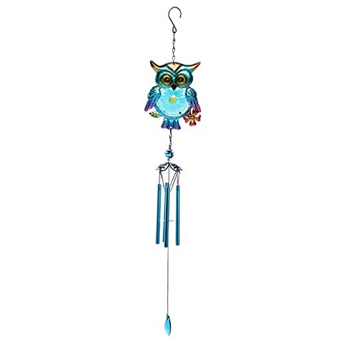 Dolity Sino de vento ao ar livre, coruja corta-vento com gancho sino de alumínio externo presente para pátio externo, varanda, jardim, quintal - azul