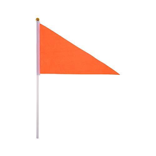 Lioobo 50 Stück Handflaggen in reiner Farbe tragbar Flag Flagge Dreieck Fahne für Party Sport Veranstaltung (rot) Orange