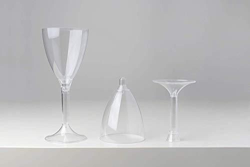 Palucart Copas de Vino de plástico PS 180 CC + Tallos Transparentes cfz 20 Piezas