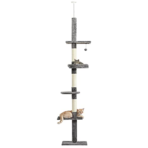 Amazon Brand – Umi Deckenhoch Kletterbaum reichender Kratzbaum 5-stufiger Plüsch-Katzenspielturm Sisal-Kratzbaum Aktivitätszentrum Höhe 230-260cm Grau