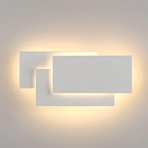 Aplique Pared Interior Cuadrado,24W Lampara LED de Pared Moderno,Luz Decoración para pasillo salon Dormitorio Hogar Dormitorio Escaleras (Blanco - luz cálida)