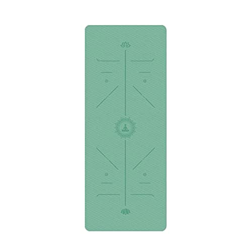 FENGCHENG Esterilla de yoga Tpe Yoga Mat Posicionamiento Línea antideslizante Esterilla Yoga Principiantes Protección del Medio Ambiente Fitness Gimnasia Mat Ejercicio Mat Verde 183cm X61cm X0.6cm
