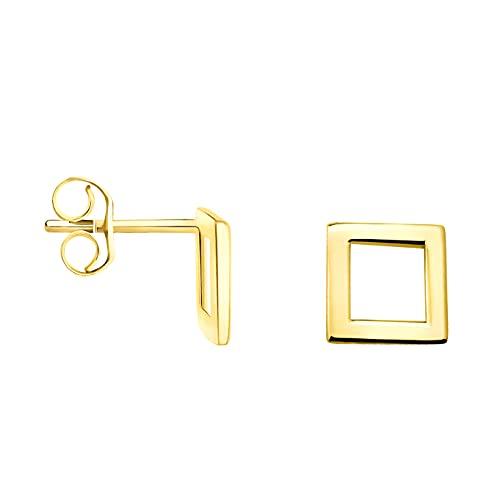 DIAMALA Pendientes para mujer de oro 375 (9 quilates), oro amarillo con diseño cuadrado - DI20002